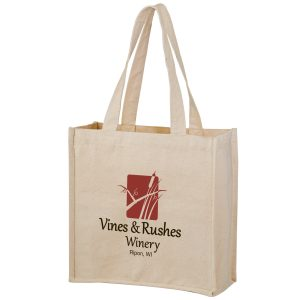Heavyweight Cotton Tote Bag With 2 Bottle Holders