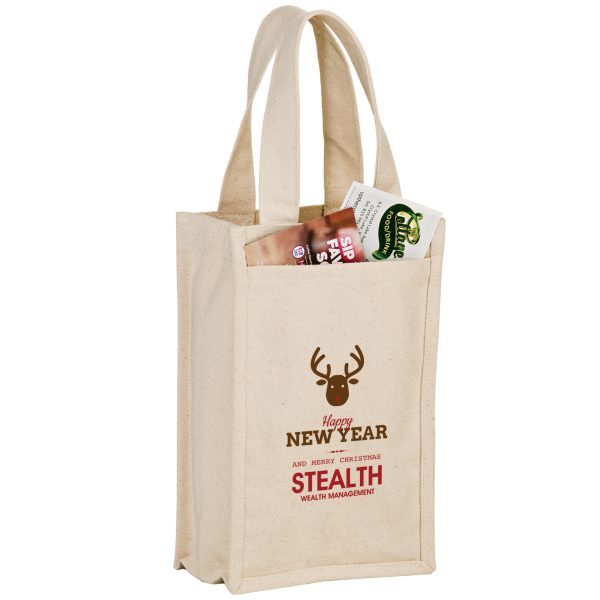 Heavyweight Cotton 2 Bottle Wine Tote Bag