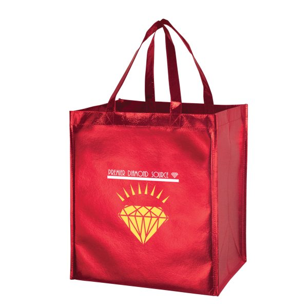 Metallic Gloss Designer Grocery Tote Bag