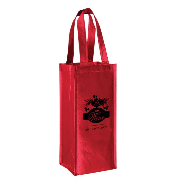 Metallic 1 Bottle Laminated Non Woven Wine Tote Bag