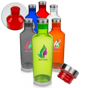 27 oz Plastic Water Bottles Metal Accent