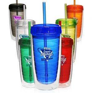 16 oz Double Wall Acrylic Tumblers Straw APG207