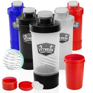 16oz Dual Plastic Shaker Bottles Mixer ASHB05