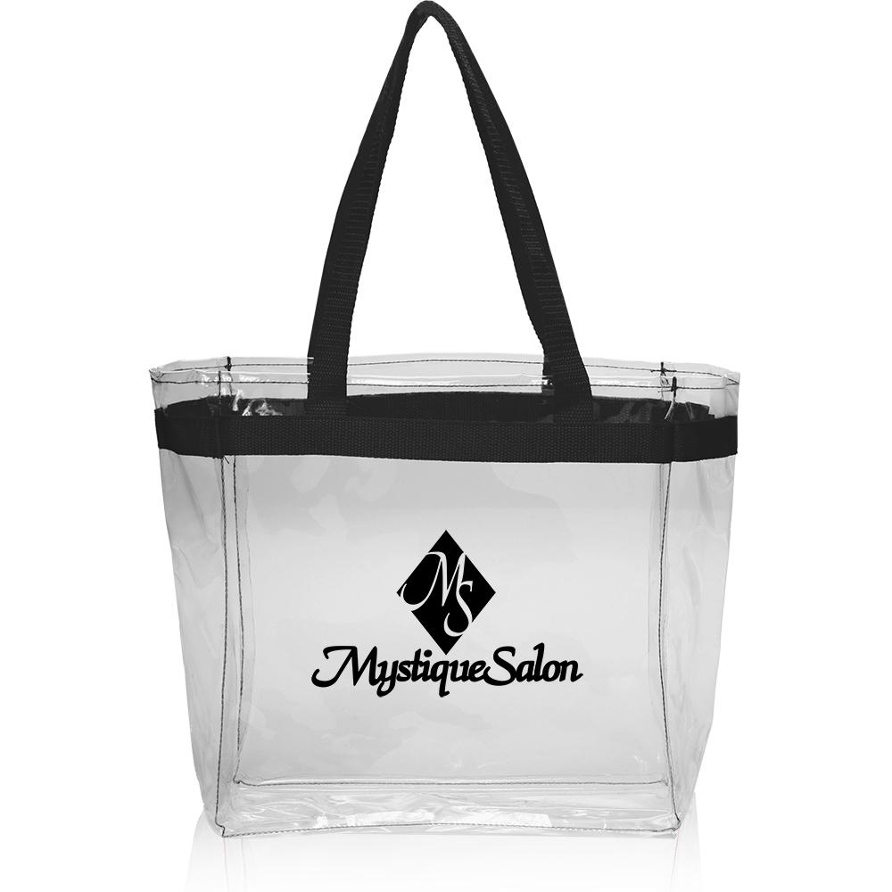 Color Handles Clear Plastic Tote Bags Atot132 Wholesale