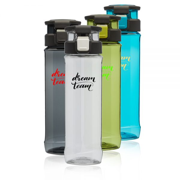 24 oz Gaia Plastic Water Bottles with Flip Lid and Handle AWB340