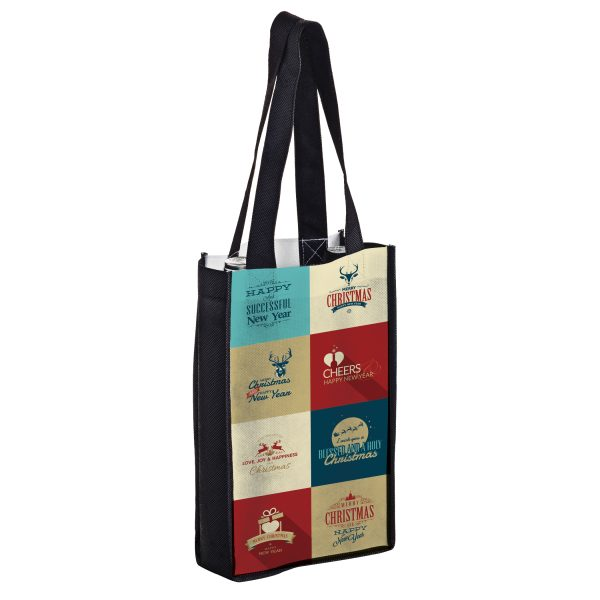 SUBVINE2 Dye Sublimation PET Non Woven Sublimated 2 Bottle Wine Bag